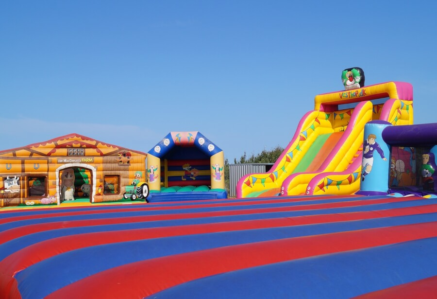 Many bouncy-castles