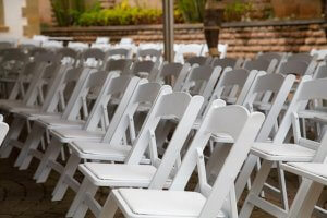 Folding white chairs